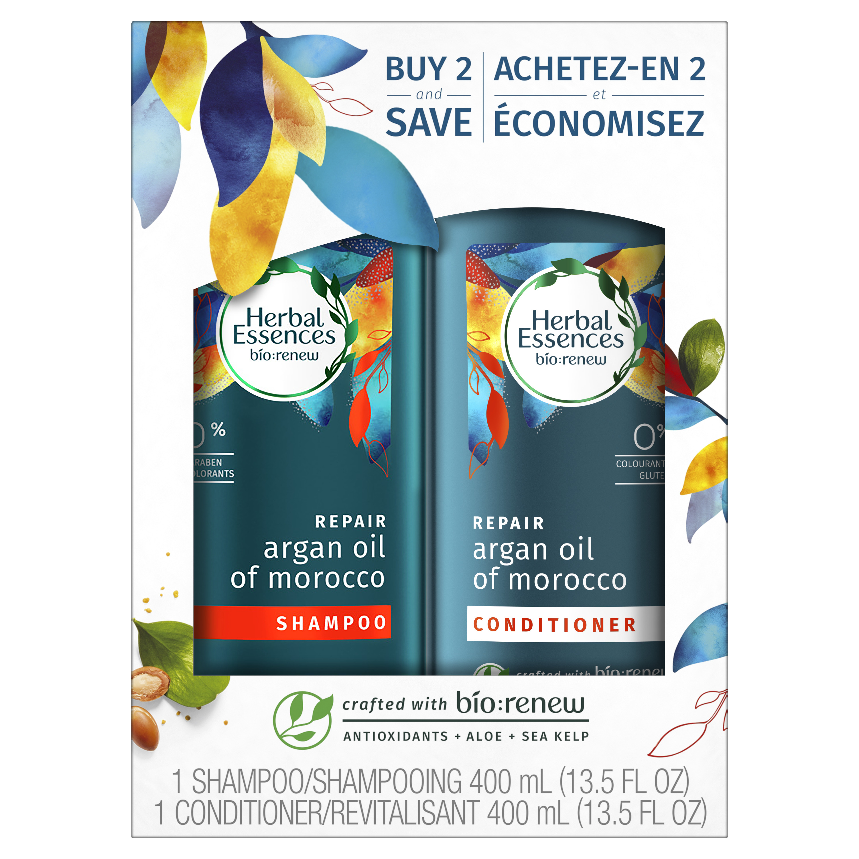Herbal Essences Bio:renew Argan Oil of Morocco Shampoo and Conditioner Set, 13.5 Fl Oz Each (Pack of 2)