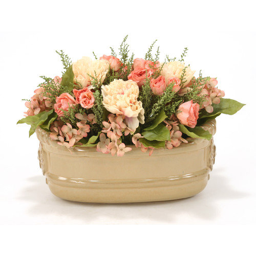 Distinctive Designs Silk Roses and Hydrangeas in Oval Milu Planter