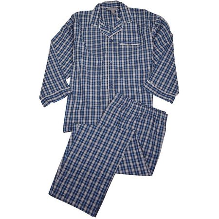 Private Label - Mens Big Broadcloth Long Sleeve Pajamas blue white / XXXX-Large