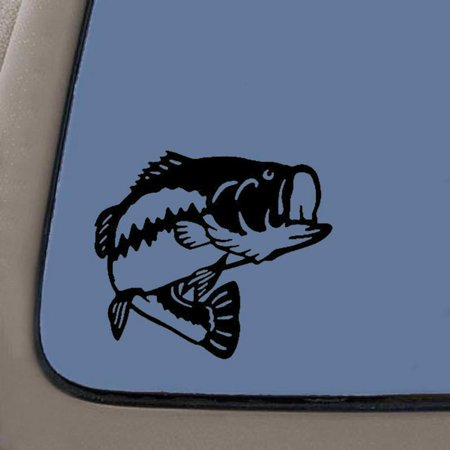 Car Decals And Graphics (Largemouth Bass Decal | 5.5-Inches | Black Vinyl Decal | Car Truck Van SUV Laptop Macbook Wall Decals )