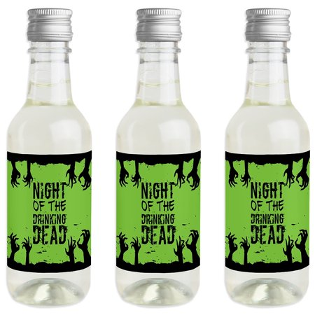 Zombie Zone - Mini Wine and Champagne Bottle Label Stickers - Halloween Zombie Crawl Party Favor Gift - Set of 16