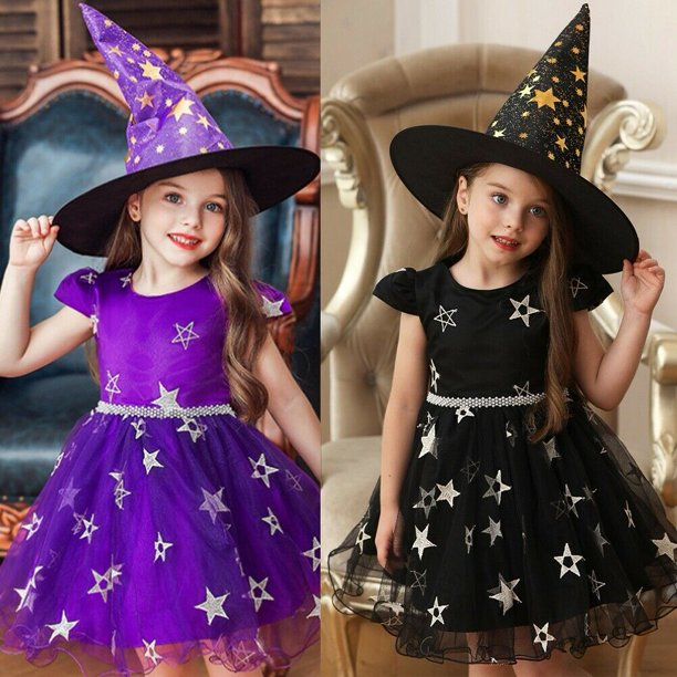 Kid Baby Girl Halloween Clothes Party Star Lace Dress Witch Hat Summer Outfit Walmart Com Walmart Com