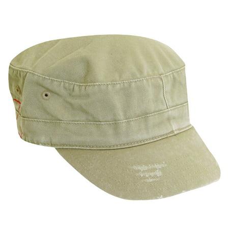 Dorfman Pacific Distressed Cotton Military Cadet Hat