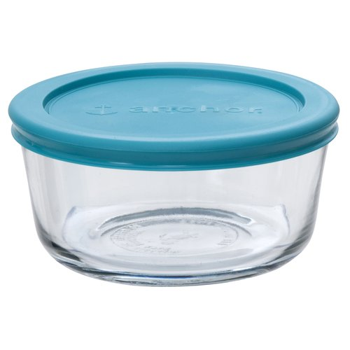 Anchor Hocking 6-Piece 2-Cup Round Storage Set with Teal Lids