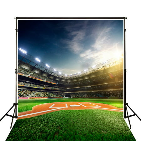 HelloDecor Polyster 5x7ft Photo Background Photography Backdrop Baseball Game Daytime Green Newborn Photographic