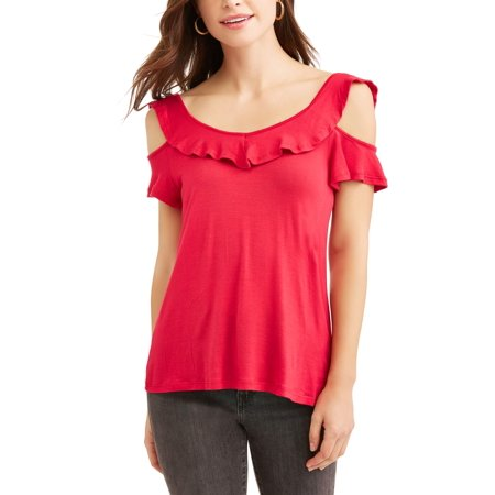 Ruffle Neck Wrap - Women's Ruffle Neck and Sleeve Cold Shoulder T-Shirt