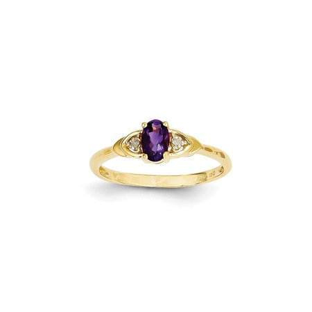 14k Yellow Gold Diamond Purple Amethyst Band Ring Size 7.00 Stone Birthstone February Gifts For Women For Her ()