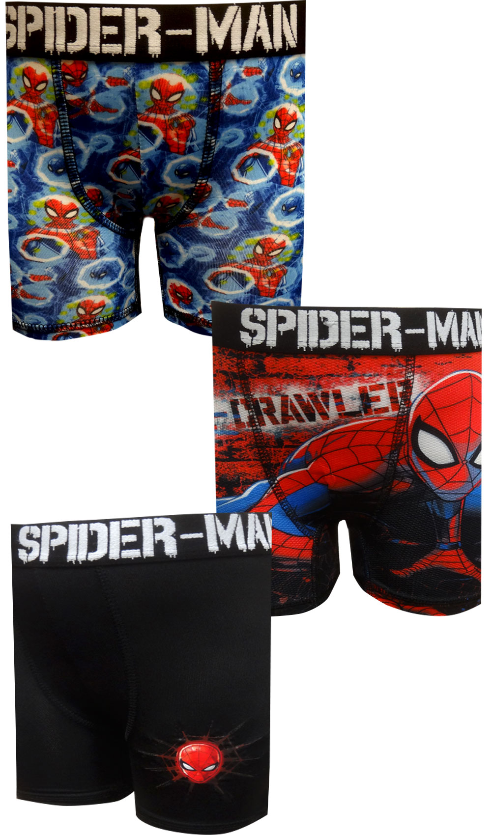 Size 4 3 Pack X-Small Marvel Boy/'s Spider-Man Poly Boxer Briefs