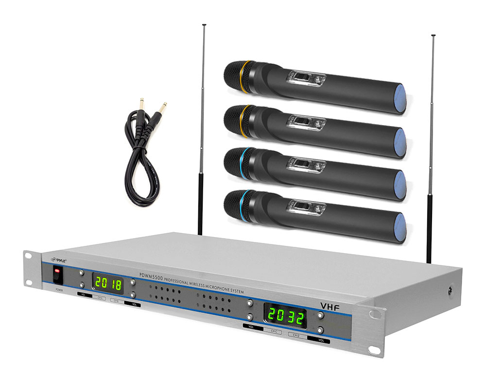 Pyle PDWM5500 VHF Wireless Microphone System with (4) Handheld Microphones by Pyle