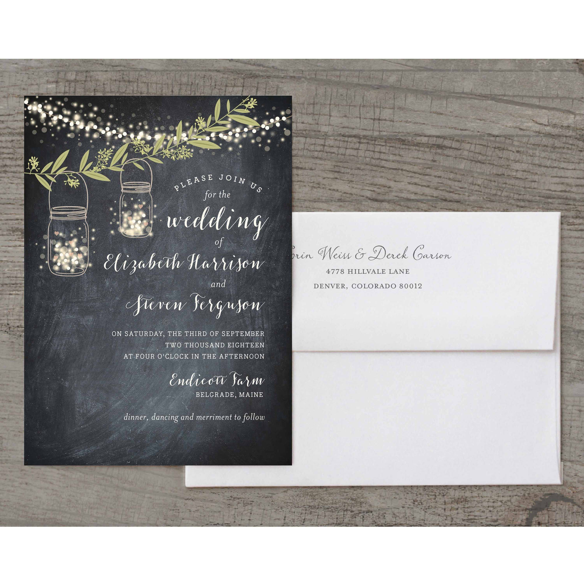 Twinkling Jars Deluxe Wedding Invitation