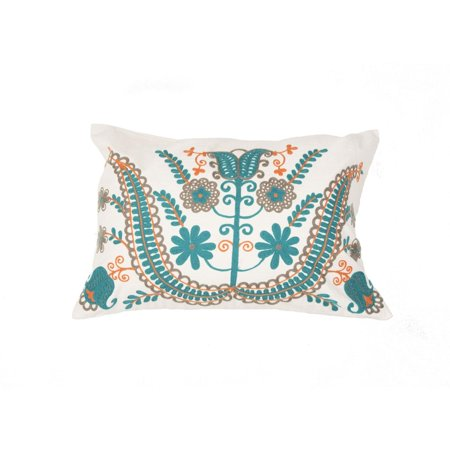 20 slate white mango orange turquoise and gray floral pattern decorative throw pillow. Black Bedroom Furniture Sets. Home Design Ideas