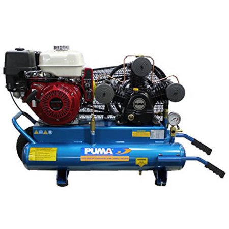 Puma Industries Air Compressor  Puk 8008Hge  Single Stage Gas Powered Belt Drive Series  8 0 Hp Running  135 Max Psi  Honda Engine  8 Gallons  315 Lbs