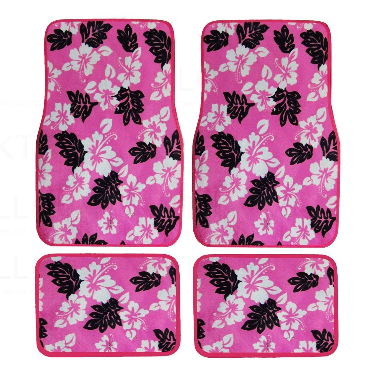A Set of 4 Universal Fit Hawaii Hibiscus Carpet Floor Mats for Cars / Truck - Pink
