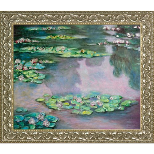 La Pastiche 'Water Lilies' by Claude Monet Framed Painting Print on Wrapped Canvas