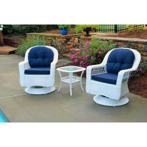 Marvelous Tortuga Outdoor Biloxi Outdoor White Resin Wicker 3 Piece Swivel Glider Set  With Blue Cushions