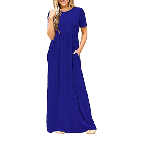 DYMADE Women's Short Sleeve High Waist Loose Plain Casual Long Maxi Dress With Pockets