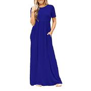 DYMADE Women's Short Sleeve High Waist Loose Plain Casual Long Maxi Dress With Pockets