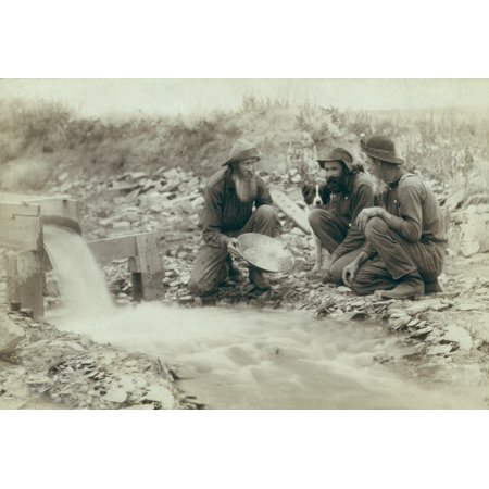 Three Men Panning For Gold In A Stream In The Black Hills Of South Dakota In 1889 Old Timers