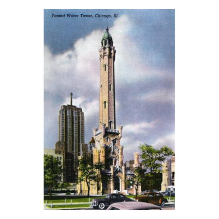 Chicago, Illinois, Exterior View of the Famed Water Tower Print Wall Art By Lantern (Chicago Water Tower Stores)