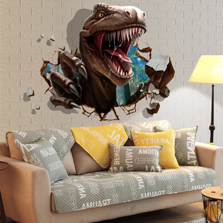 Creative Dinosaur Raid Wall Stickers Decorative Removable Wall Decals Home Decoration for Living Room Bedroom 23.62'' x 35.43''