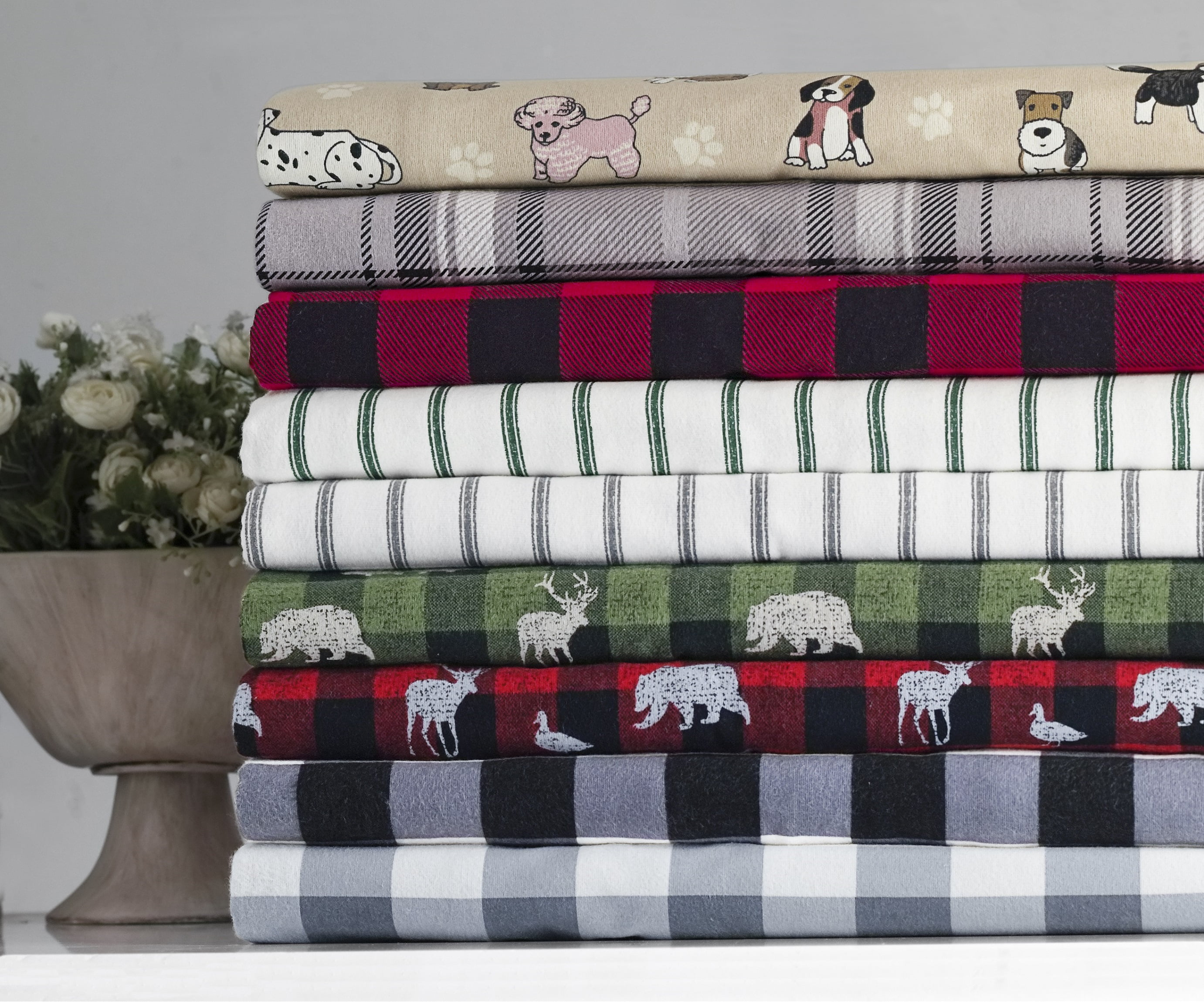 Mainstays Buffalo Plaid 155 Gsm 100 Cotton Flannel Sheet Set Grey Full Walmart Com Walmart Com
