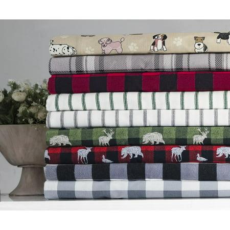 Mainstays Buffalo Plaid 155 GSM, 100% Cotton, Flannel Sheet Set, Black, Queen Tan Flannel Sheet Set