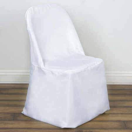 Folding Chair Seat Covers (Efavormart 10pcs Polyester Linen White Folding Chair Cover Dinning Chair Slipcover For Wedding Party Event Banquet Catering )