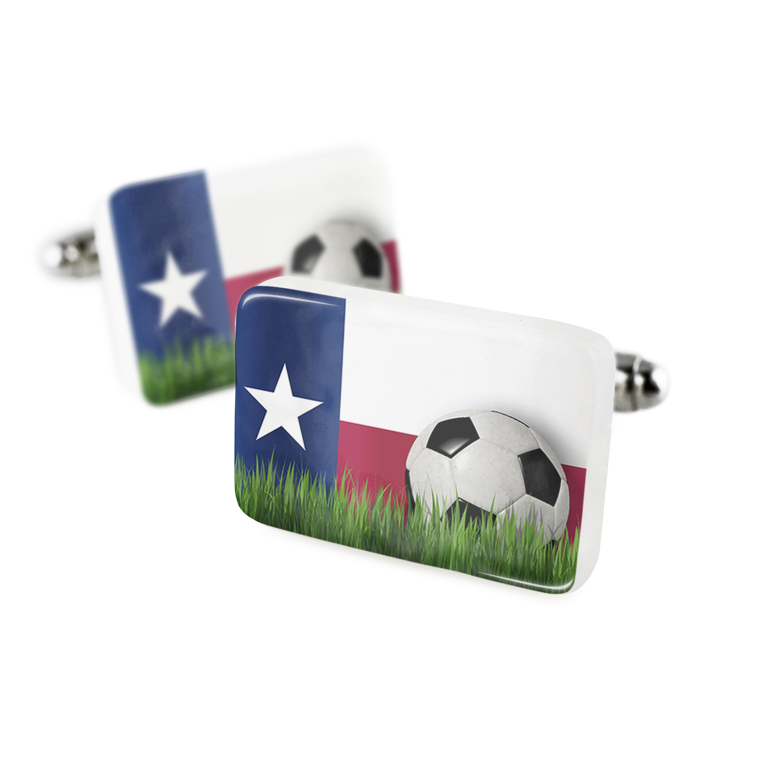 Cufflinks Soccer Team Flag Texas region America (USA) Porcelain Ceramic NEONBLOND