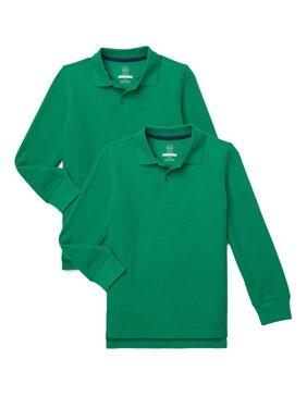 Wonder Nation Boys School Uniform Long Sleeve Pique Polo Shirt, 2-Pack Value Bundle, Sizes 4-18
