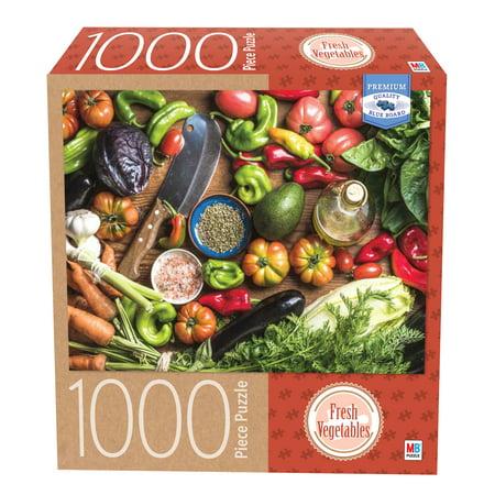 Milton Bradley Premium Blue Board Jigsaw Puzzle - Fresh Vegetables: 1000 Pcs