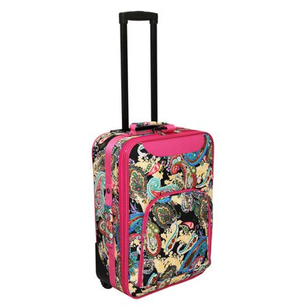 "Image of All-Seasons Paisley Print 20"" Rolling Carry-On Luggage Suitcase - Pink Trim"