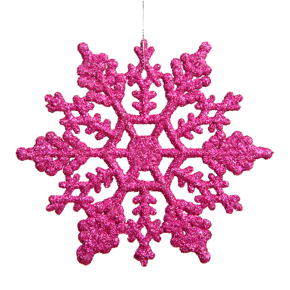 Club Pack of 24 Pink Magenta Glitter Snowflake Christmas Ornaments 4""