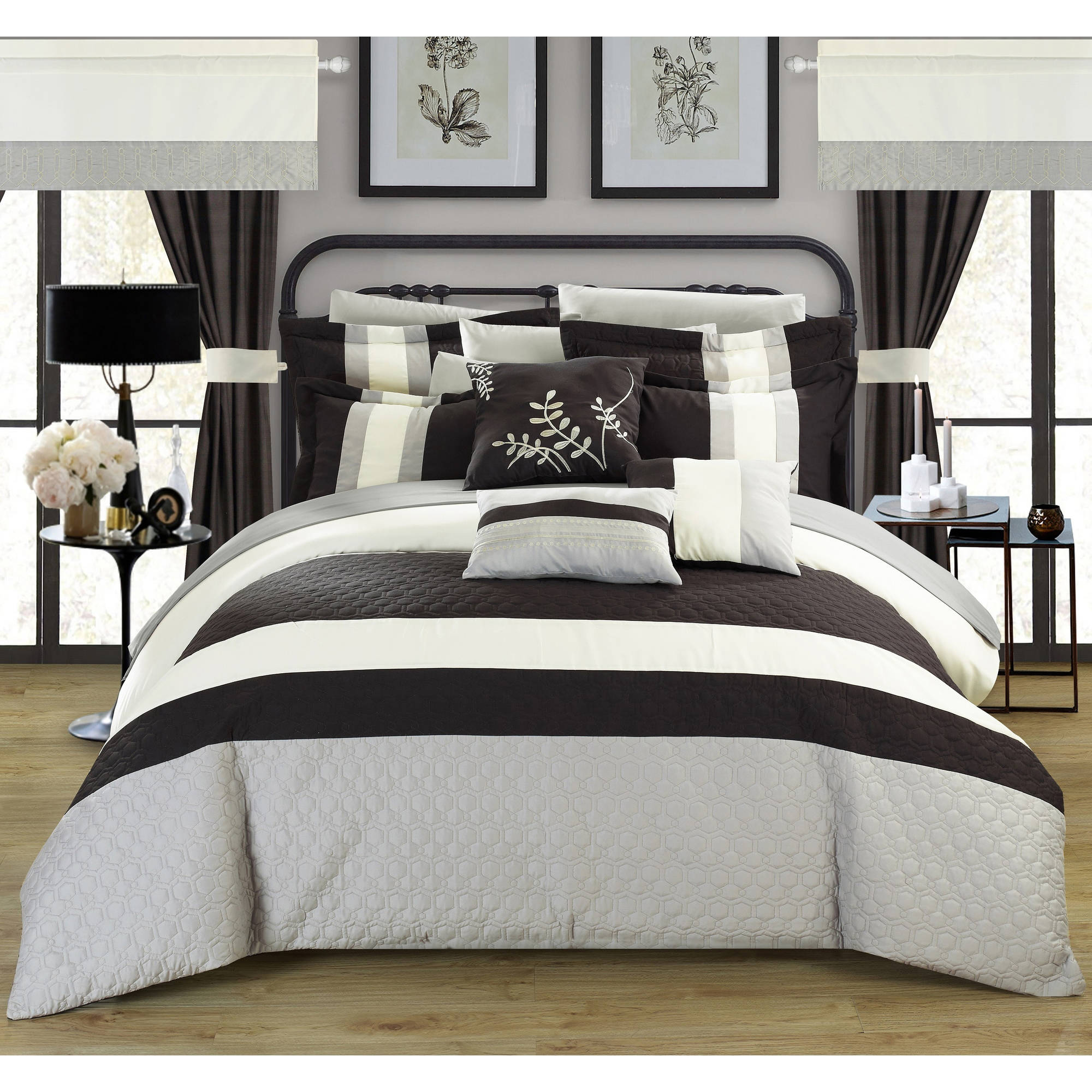 Lorena 24-Piece Complete Bed in a Bag Bedding Comforter Set ...