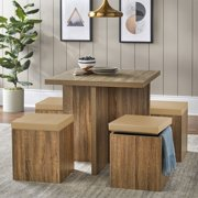 WOODYHOME Dining Set with Storage, 4 Person Dining Room Set, Kitchen Table and Ottoman, Dining Room Chair Set for 4 Persons