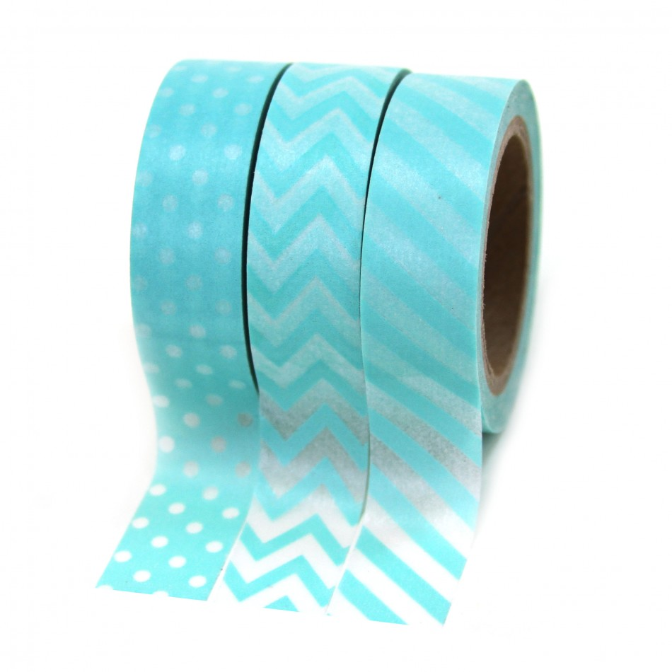 Dress My Cupcake Party Collection Washi Paper Tape, Diamond Blue, Set of 3