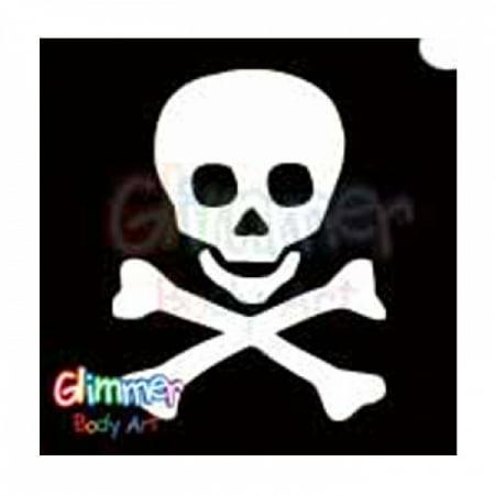 Glimmer Body Art Glitter Stencil Skull & Crossbones 1 5/pk (Crossbones Stencil)