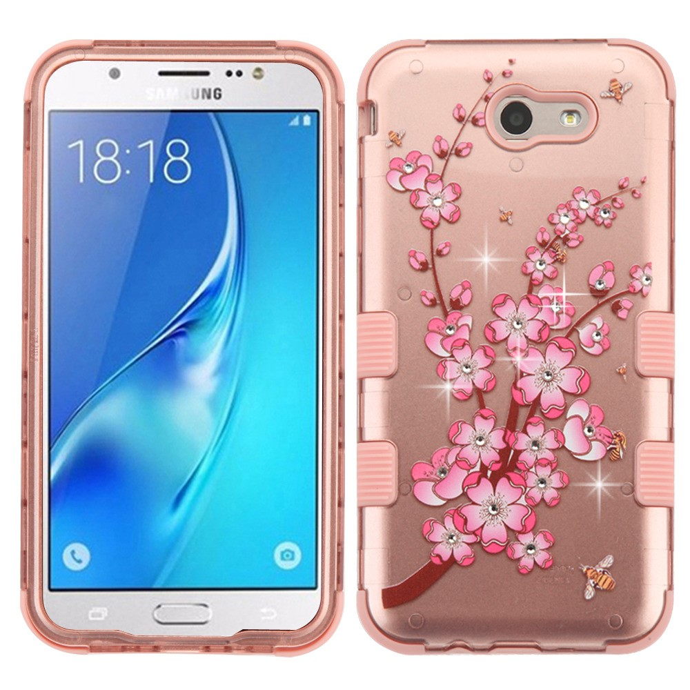 Samsung Galaxy J7 Sky Pro 4G LTE Case - TUFF Series [Military Grade Drop Tested - MIL-STD 810G-516.6] Heavy Duty Shock Resistant Protective Case (Spring Flowers) and Atom Cloth
