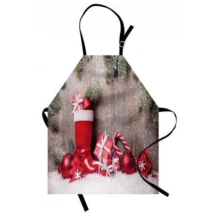Christmas Apron Xmas Background with Gift Boxes on Wooden Board Countryside Celebration Image, Unisex Kitchen Bib Apron with Adjustable Neck for Cooking Baking Gardening, Brown Red, by Ambesonne