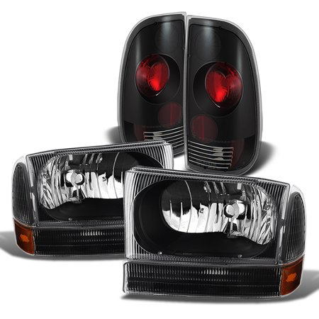Fit 1999-2003 Ford F250 F350 F450 F550 Super Duty Black Headlights + Tail Lights - Ford F250 Pickup Tail Light
