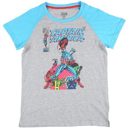 Marvel Captain America Pajama T-Shirt Sleepwear Womens Heather Grey - Captain America T Shirt Womens