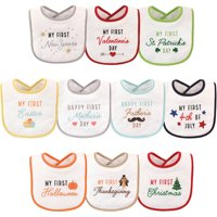 Hudson Baby Boy and Girl Cotton-Poly Terry Knit Holiday Bib, 10Pk Unisex