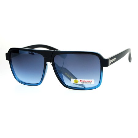 Biohazard Mens Mod Flat Top Racer Plastic Aviator Sunglasses Black Blue