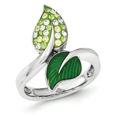 Sterling Silver Preciosa Crystal & Enameled Green Leaves - Enamel Crystal Leaf