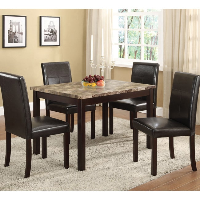 K and B Furniture Co INC Faux Marble-top Espresso Dining ...