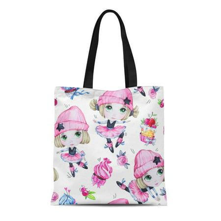 ASHLEIGH Canvas Tote Bag Watercolor Ballet Girls Sweet Cakes Dancing Princesses Teenager Celebration Reusable Shoulder Grocery Shopping Bags Handbag - Sweet Teen Girls