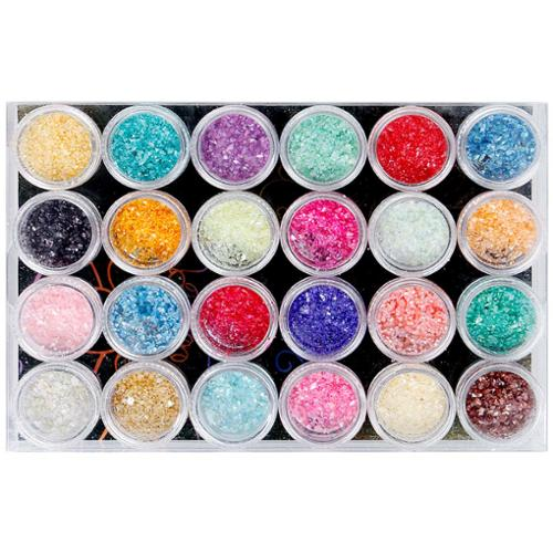 BMC 24pc Pretty Shimmering Crushed Shell Crafting Nail Polish Art Accessory Set