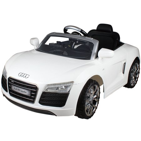 costway white audi kids 12v electric ride on car with mp3 rc remote control car. Black Bedroom Furniture Sets. Home Design Ideas