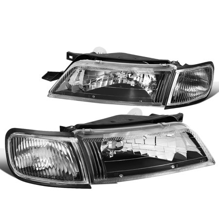 For 1997 to 1999 Nissan Maxima Headlight Black Housing Clear Corner Headlamp 98 Left+Right
