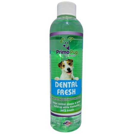 DENTAL FRESH Oral Care for Dogs - Primo Pup Vet Health - All Dog Formula with Natural Peppermint Oil - Reduces Plaque and Tartar Build-up, Freshens Breath, Reduces Bad Bacteria in Mouth - 8 fl