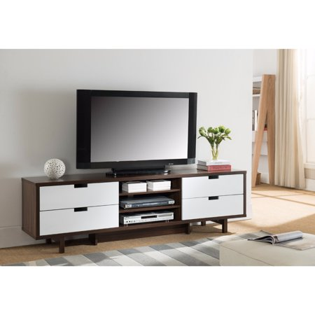Dual Tone TV Stand With Cutout Handle Drawers, Brown and (Dual Tone)